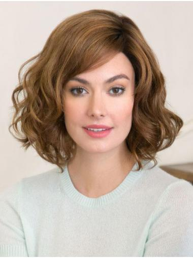 """Fashionable With Bangs Brown Chin Length 12"""" Medium Wigs"""