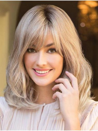 """Gorgeous With Bangs Blonde Shoulder Length 14"""" Medium Wigs"""