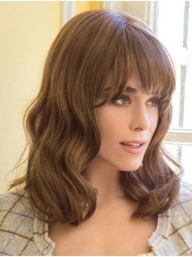 "Style With Bangs Brown Shoulder Length 14"" Medium Wigs"
