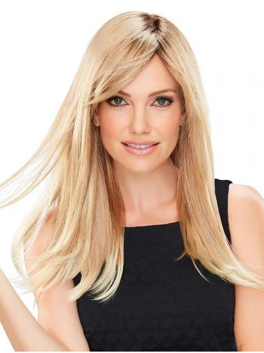 "Sassy 18"" Long Blonde With Bangs 100% Hand-tied Wigs"