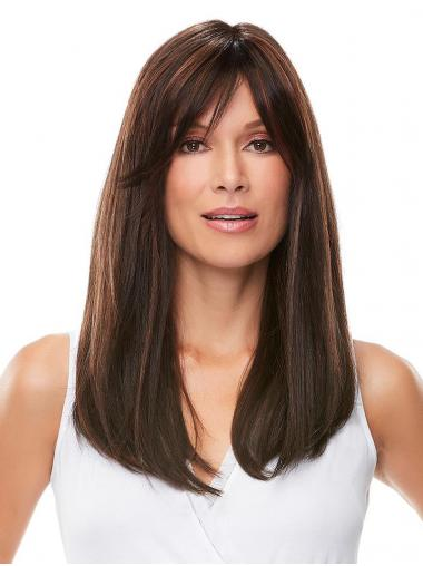"""Cheap 18"""" Long Brown With Bangs 100% Hand-tied Wigs"""