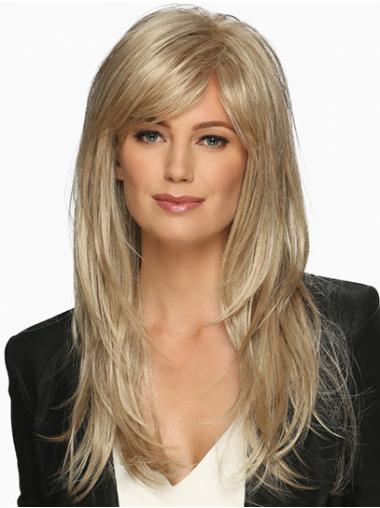 Wavy With Bangs Synthetic Platinum Blonde Monofilament Natural Long Wig