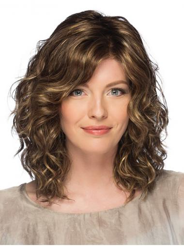 """14"""" Curly Shoulder Length Brown With Bangs Monofilament Wigs For Women"""
