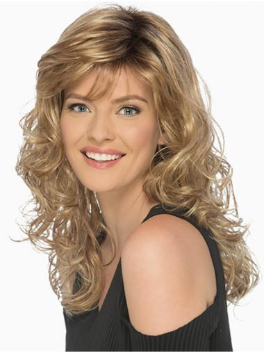 "16"" Long Curly Brown With Bangs Friendly Synthetic Wigs"