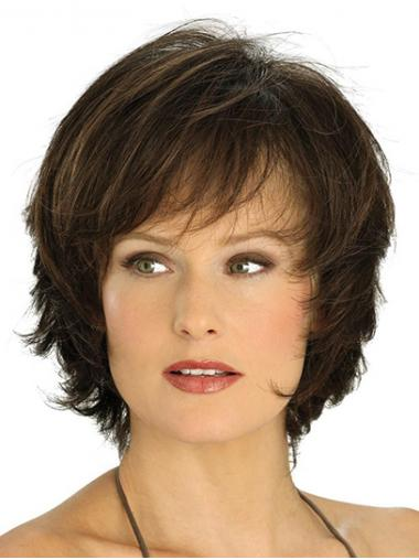 Short Monofilament Brown With Bangs Wavy Comfortable Lace Wigs
