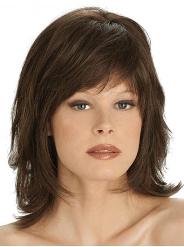 """12"""" Straight Shoulder Length Brown With Bangs Ready To Wear Monofilament Wigs"""