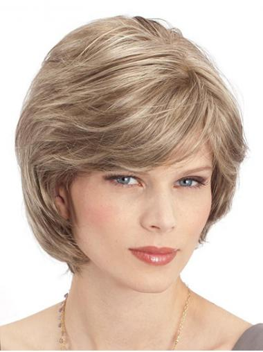 Straight Blonde Monofilament Synthetic With Bangs New Short Wigs