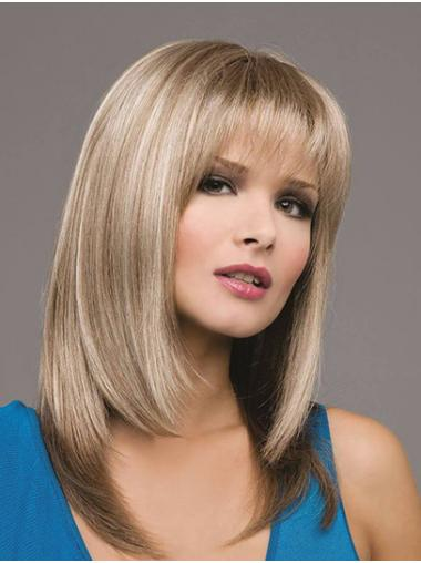 Straight With Bangs Synthetic Ombre/2 Tone Monofilament Long Wig