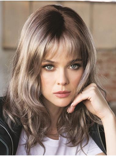 Wavy With Bangs Synthetic Ombre/2 tone Capless Long Wigs Natural