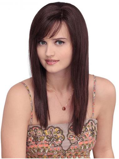 """Straight Red With Bangs Monofilament 16"""" Synthetic Best Long Wigs"""