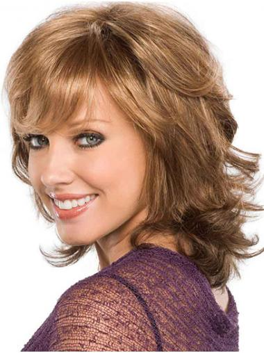 Capless Blonde Chin Length With Bangs Curly Discount Synthetic Wigs
