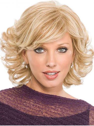 Capless Platinum Blonde Chin Length With Bangs Curly Suitable Synthetic Wigs