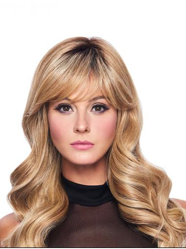 """Wavy Blonde With Bangs Capless 16"""" Synthetic Exquisite Long Wigs"""
