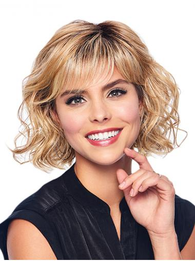 """Wavy Blonde With Bangs Capless 10"""" Synthetic Medium Wigs"""