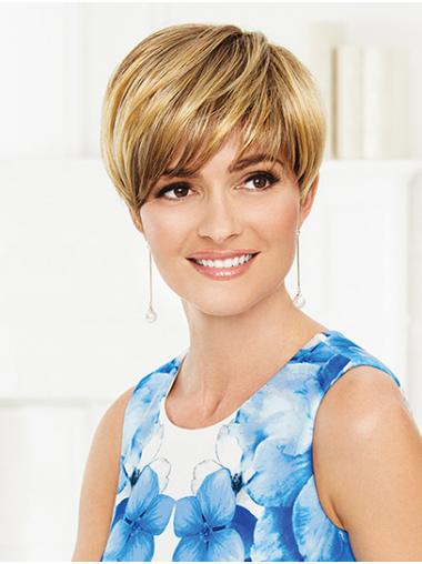 """Blonde 6"""" Synthetic Straight With Bangs Ladies Short Wigs"""