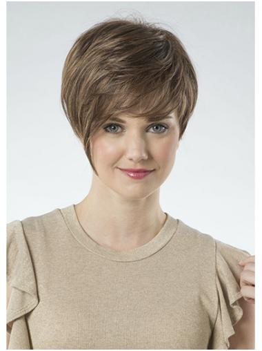 """Brown 8"""" Synthetic Straight With Bangs Ladies Short Wigs"""