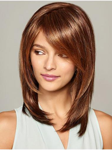 """Shoulder Length Brown Straight 12"""" With Bangs Best Synthetic Wigs"""