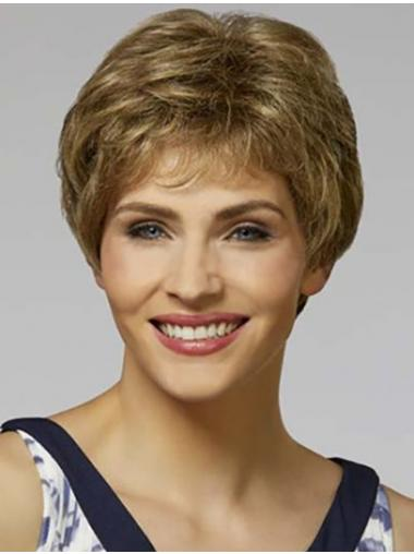 """Short Blonde Wavy 8"""" With Bangs Synthetic Wigs Women"""