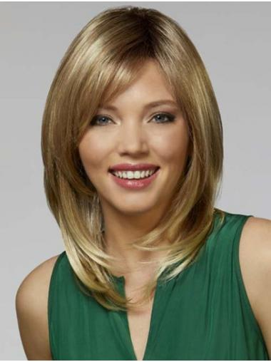 """Shoulder Length Blonde Straight 14"""" With Bangs Synthetic Wigs For Women"""