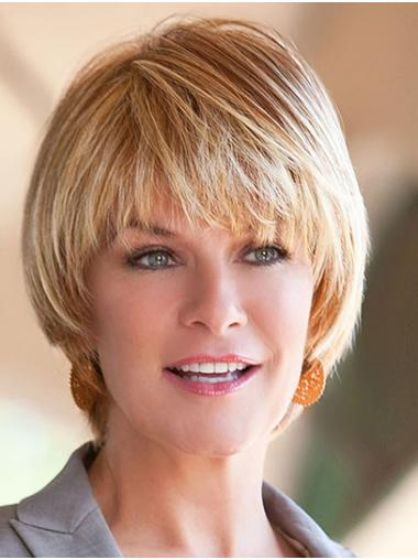 """Blonde 8"""" Synthetic Straight With Bangs Short Hair Styles"""