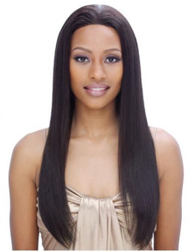 "24"" Black Long Without Bangs Yaki Incredible Lace Wigs"