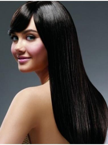 "22"" Black Long With Bangs Yaki Hairstyles Lace Wigs"