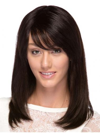 Brazilian Human Hair With Bangs Brown Color Straight Style