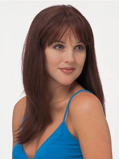 "Fashionable 18"" Red Long With Bangs Straight Lace Wigs"