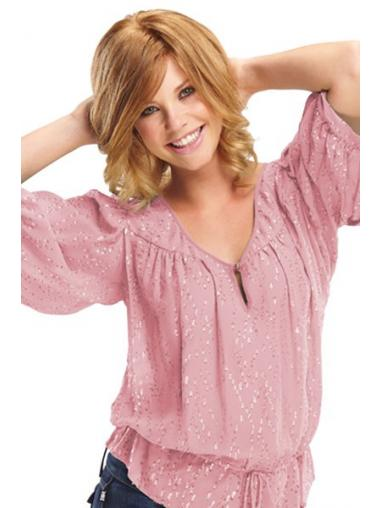 Layered Chin Length Blonde Wavy Ideal Petite Wigs