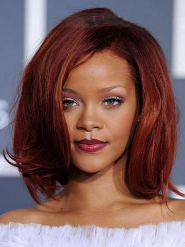 Natural Chin Length Red Straight Capless Rihanna Wigs