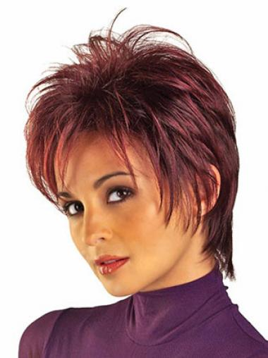Red Wigs UK With Capless Straight Style Boycuts