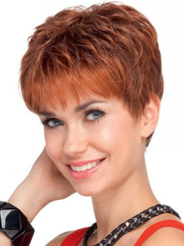 """Soft 4"""" Red Cropped Boycuts Wavy Lace Wigs"""