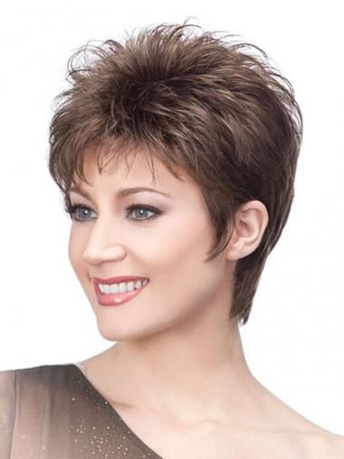Browns Wigs With Capless Cropped Length Straight Style