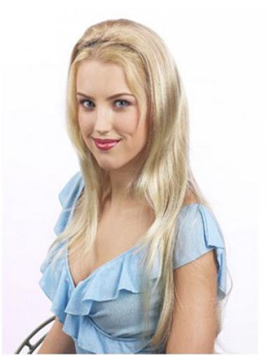 Suitable Blonde Synthetic Straight Hair Falls