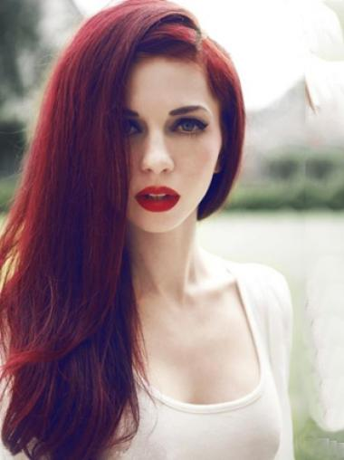 """Straight Without Bangs Lace Front Trendy 20"""" Red Long Wigs"""