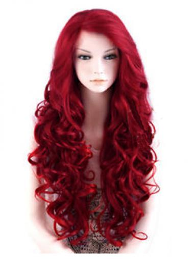 "24"" Red Long Wavy Large Cap Synthetic Lace Front Wigs"