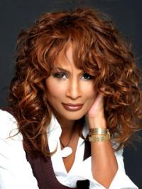 """Auburn Long Wavy With Bangs Lace Front 16"""" Beverly Johnson Wigs"""