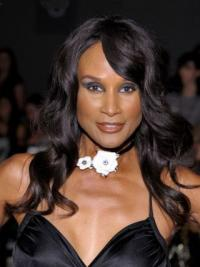"""Black Long Wavy With Bangs Lace Front 18"""" Beverly Johnson Wigs"""