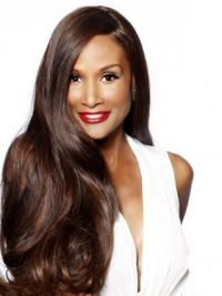 """Brown Long Wavy Without Bangs Lace Front 24"""" Beverly Johnson Wigs"""