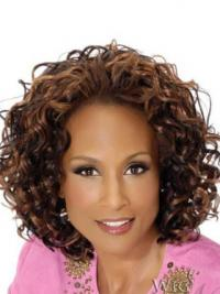 """Brown Chin Length Curly Without Bangs Full Lace 12"""" Beverly Johnson Wigs"""
