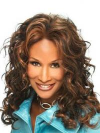 """Brown Long Curly Without Bangs Lace Front 16"""" Beverly Johnson Wigs"""