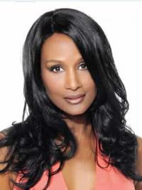 "Black Long Wavy Without Bangs Lace Front 18"" Beverly Johnson Wigs"