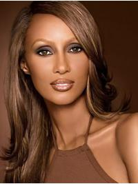 """Straight Long Lace Front Brown 18"""" Without Bangs Synthetic Comfortable Iman Wigs"""