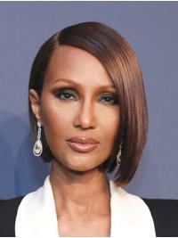 """Straight Chin Length Lace Front Auburn 10"""" Bobs Synthetic Best Iman Wigs"""