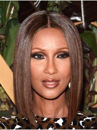 """Straight Shoulder Length Capless Brown 14"""" Bobs Synthetic Discount Iman Wigs"""
