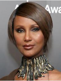 """Straight Short Lace Front Brown 8"""" Bobs Synthetic Amazing Iman Wigs"""