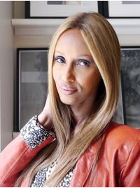 """Straight Long Lace Front Blonde 16"""" Without Bangs Synthetic Fabulous Iman Wigs"""