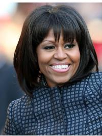 "Straight Chin Length Lace Front Black 12"" With Bangs Synthetic New Michelle Obama Wigs"