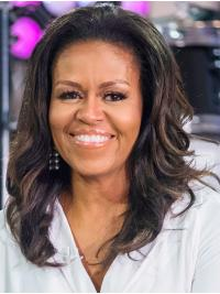 "Wavy Shoulder Length Full Lace Black 16"" Without Bangs Synthetic Soft Michelle Obama Wigs"