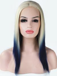 """16"""" Ombre/2 Tone Long Without Bangs Straight Fashionable Lace Wigs"""